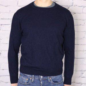 Black Brown 100% merino wool navy blue sweater c2